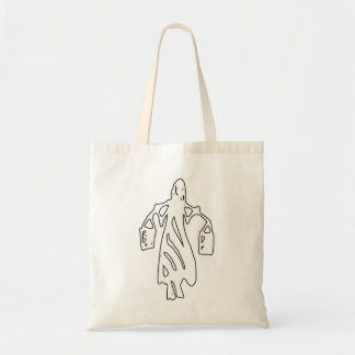 Peileppe Tribal Art Woman w Bucket Silhouette Maid Bag