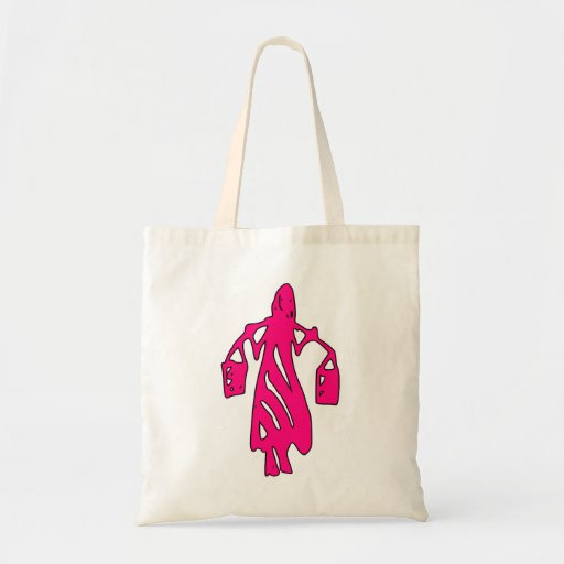 Peileppe Tribal Art Woman w Bucket Silhouette Maid Tote Bags