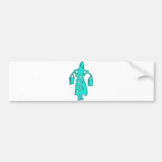 Peileppe Tribal Art Woman w Bucket Silhouette Maid Bumper Sticker