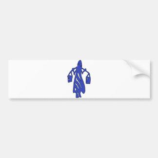 Peileppe Tribal Art Woman w Bucket Silhouette Maid Car Bumper Sticker