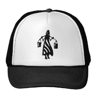 Peileppe Tribal Art Woman w Bucket Silhouette Maid Mesh Hats