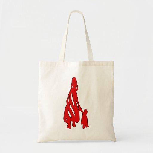 Peileppe Tribal Art Woman w Child Silhouette comic Tote Bags