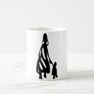 Peileppe Tribal Art Woman w Child Silhouette comic Coffee Mug