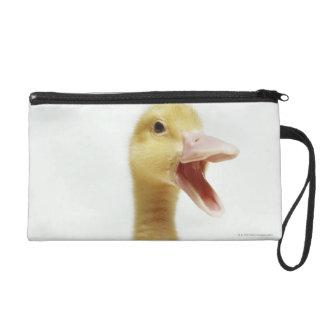 Pekin duck chick, head-shot wristlet clutch