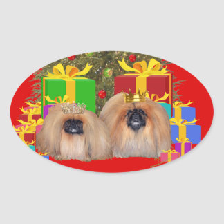 Pekingese at the Tree Oval Sticker