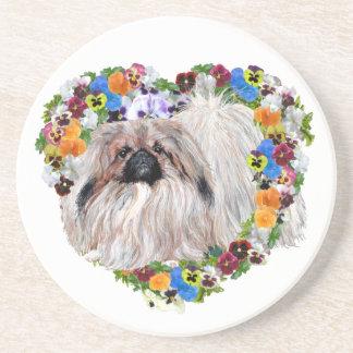 Pekingese Dog in Pansy Heart Coaster
