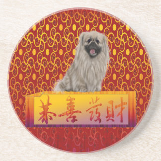Pekingese Dog on Happy Chinese New Year Coaster
