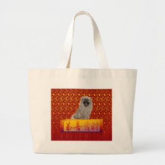 Pekingese Dog on Happy Chinese New Year Large Tote Bag