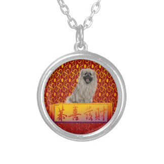 Pekingese Dog on Happy Chinese New Year Silver Plated Necklace