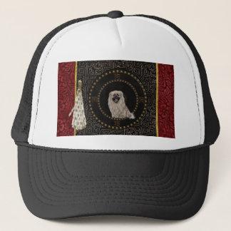 Pekingese Dog, Round Shape, Dog in Chinese, Tassel Trucker Hat