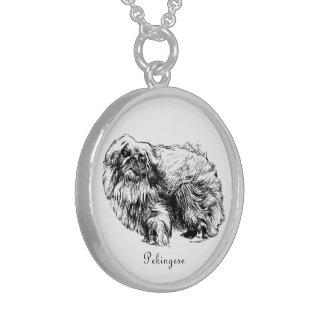 Pekingese dog vintage illustration necklace