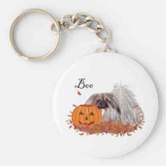 Pekingese Halloween Basic Round Button Key Ring