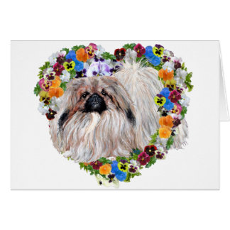 Pekingese in a Floral Heart Card