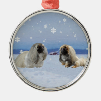 Pekingese in Winter Silver-Colored Round Decoration
