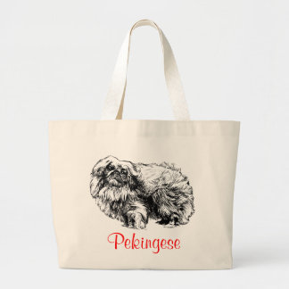 Pekingese Jumbo Canvas Tote Bag