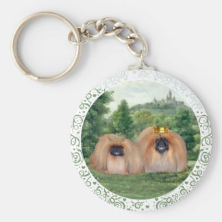 Pekingese King & Queen with Dream Castle Basic Round Button Key Ring