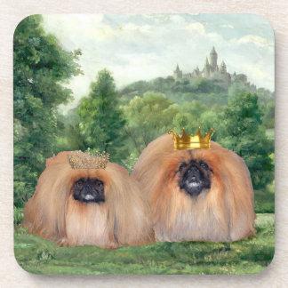Pekingese King & Queen with Dream Castle Drink Coasters