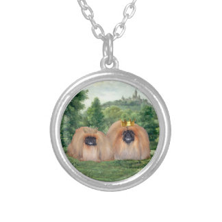 Pekingese King & Queen with Dream Castle Silver Plated Necklace