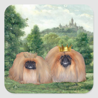 Pekingese King & Queen with Dream Castle Square Sticker
