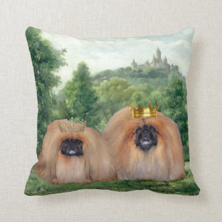 Pekingese King & Queen with Dream Castle Throw Pillow