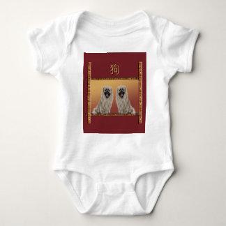 Pekingese on Asian Design Chinese New Year, Dog Baby Bodysuit