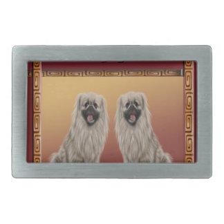 Pekingese on Asian Design Chinese New Year, Dog Belt Buckles