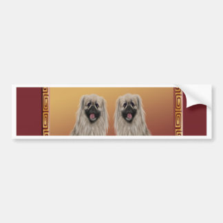 Pekingese on Asian Design Chinese New Year, Dog Bumper Sticker