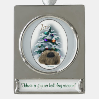 Pekingese Personalized Christmas Silver Plated Banner Ornament