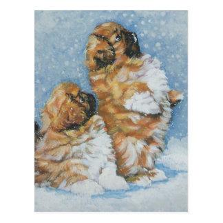Pekingese pups postcard
