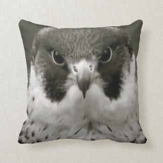 Pelegrine falcon in black and white cushion
