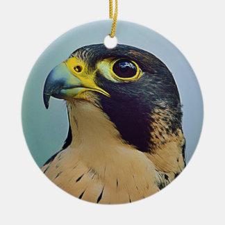 Pelegrine falcon portrait ceramic ornament