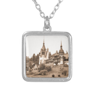 Peles Castle in Sinaia, Romania Silver Plated Necklace
