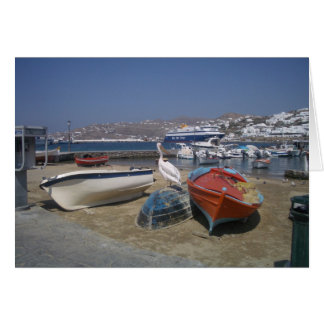 Pelican and Boats Greeting Card