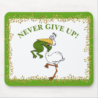 Pelican and Frog Never Give Up Mouse Pad