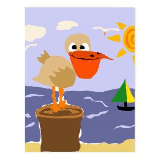 Pelican at the Beach Art Postcard