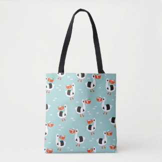 Pelican birds and fish ocean boys pattern tote bag