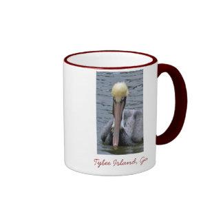 Pelican Front closeup, Tybee Island, Ga Ringer Mug