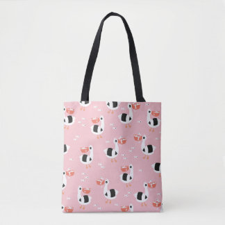 Pelican girls and fish friends ocean pattern tote bag