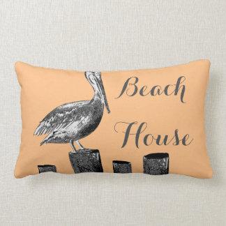 Pelican Illustration Beach House Lumbar Cushion