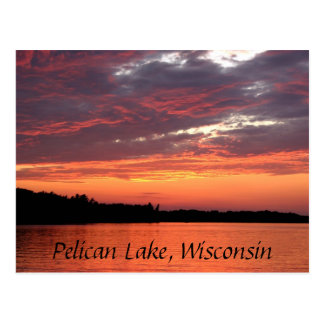 Pelican Lake Sunset, Wisconsin Postcard