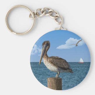 Pelican on a Post Keychain