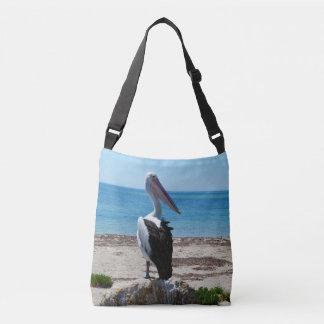 Pelican_On_Beach_Rock,_Full_Print_Cross_Body_Bag. Crossbody Bag