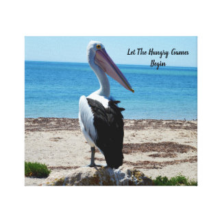 Pelican On Beach Rock, Let The Hungry Games Begin, Canvas Print