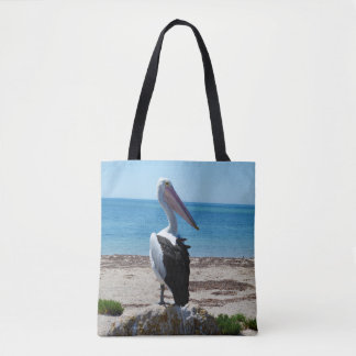 Pelican On Beach Rock, Tote Bag