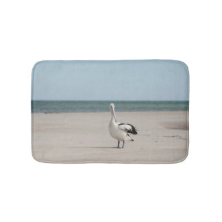 Pelican on the beach bath mat