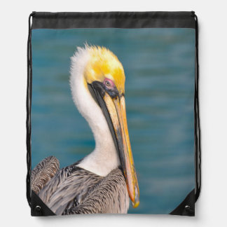 Pelican Portrait Close Up with Ocean in Background Drawstring Bag