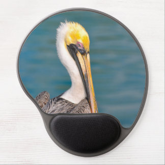 Pelican Portrait Close Up with Ocean in Background Gel Mouse Pad