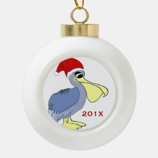 Pelican Santa Christmas Keepsake Ceramic Ball Christmas Ornament