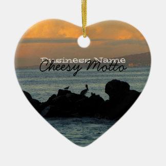 Pelican Silhouette; Promotional Ceramic Ornament