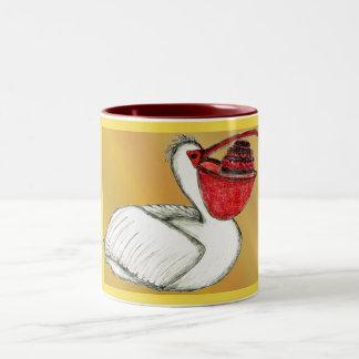 Pelican with a cake in his beak Two-Tone coffee mug